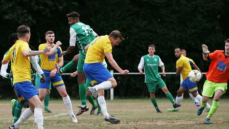 Harpenden Town V Edgware Town - FA Cup - Dan Weeks scores a goal for Harpenden Town 1-0.Picture: