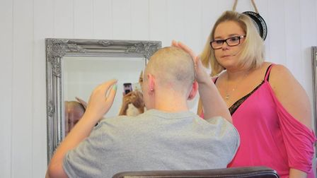 Crystal Carr during the shave. Picture: Crystal Carr