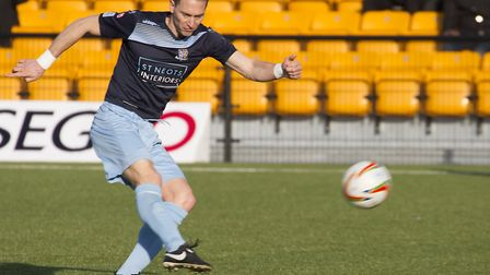 Former St Neots Town player-coach David Bridges in action for the club last season. Picture: CLAIRE