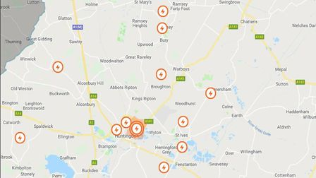 The areas that are thought to be affected by the power cuts. Picture: UK POWER NETWORK