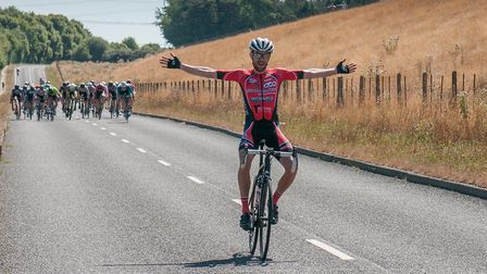 Jack Burgin celebrates his Eastern Road Race League victory. Picture: REDBRIDGE CYCLING CLUB