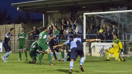 St Neots Town players and fans start to celebrate their second goal - from the hidden Taylor Parr -