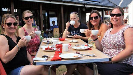 Enjoying the fundraising cream tea at the Melbourn Hub. Picture: Clive Porter