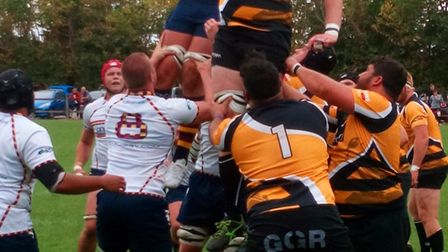 Old Albanian's Ross Hamilton claims a line-out against Chinnor in the pre-season three-team tourname