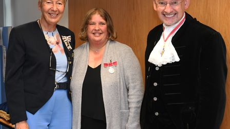 Julie Spence with Lisa Duffy and Dr Andrew Harter. Picture: ARCHANT