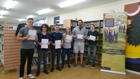 Meridian A-level students with their results. Picture: Meridian Sixth Form College