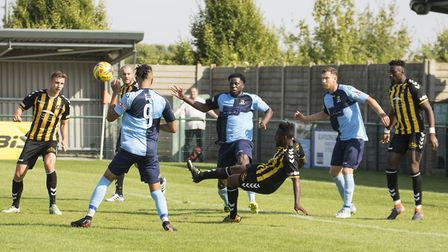 St Neots Town search for an equaliser in their 1-0 loss to Rushall Olympic. Picture: CLAIRE HOWES