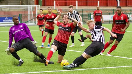 George Bailey was denied by the post in the early stages of St Ives Town's defeat at Redditch. Pictu
