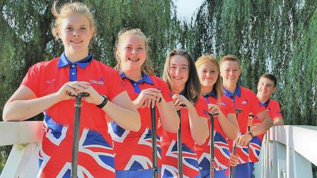 The local members of the Great Britain Under 18 team are, front to back, Erin Hall, Taylor Fernie, E