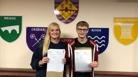 St Ivo School pupils Lauren Gibson (3 As) and Sam Cusworth (3 As).