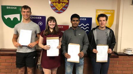 Jack Brett (3 A*s), Milly Bircham (3 As), Minhaj Ahmed (4 A*s) and Sam Edgley (2 A*s and 2 As). Mill