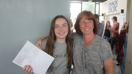St Neots sixth form student Kate Clarke with her mum. Kate gained ABB in her results and is now goin