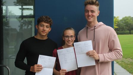 L-R Longsands students Joe Parr who got 4A*s, Melissa Quail who gained 6A*s and Robbie Leigh who got