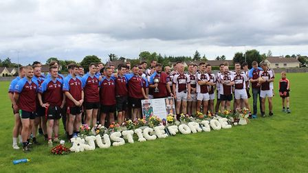 The Hammers team (left) play St Colmcilles at their match to honour Joseph Deacy in Swinford on Sund