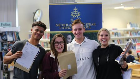 Nicholas Breakspear pupils celebrate their A-Level results.
