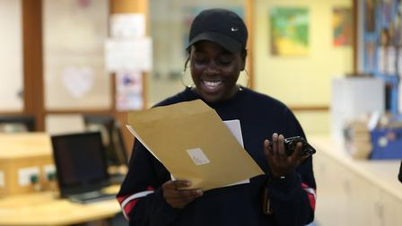 Michaella Brown from Nicholas Breakspear celebrating her A-Level results.