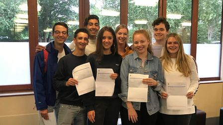 Pupils at St Albans School celebrate A-Level results.