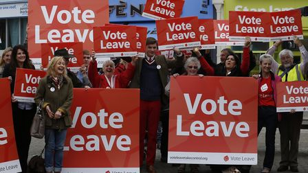 Supporters of the Vote Leave campaign cheer as they wait for Boris Johnson, during the referendum ca