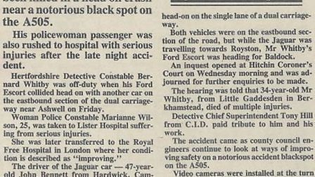 An off-duty police officer died in a head on crash on the A505 in 1987. Picture: Royston Crow archiv
