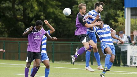 Richard Sho-Silva heads the ball into the back of the net. Picture: LEIGH PAGE