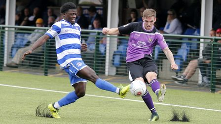 Tom Bender looks to put in a cross. Picture: LEIGH PAGE