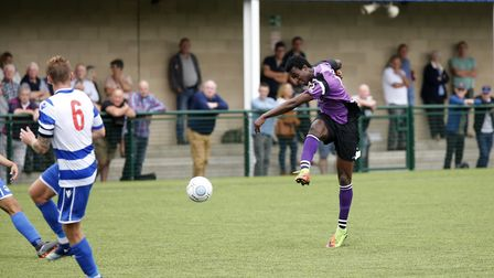Richard Sho-Silva blasts the ball towards the goal. Picture: LEIGH PAGE