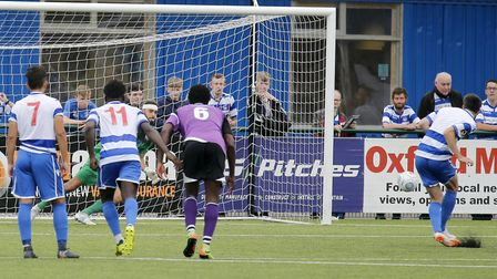 Dean Snedker saves from the penalty spot. Picture: LEIGH PAGE