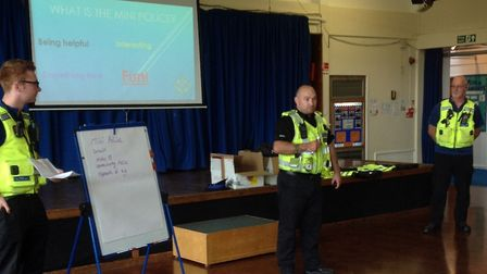 PCSO William Ryan, PCSO Tim Conway and PC Dean Edwards at Fair Field Junior School. Picture: Herts p