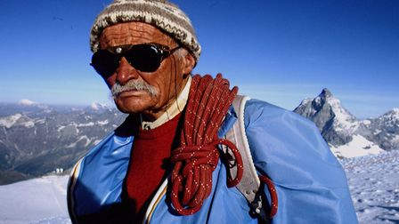 Ulrich Inderbinen, who was the oldest mountain guide in the world. Picture: John van Hasselt/Sygma v