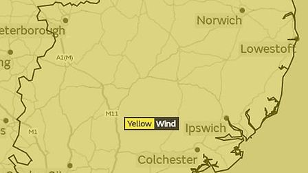 Yellow weather warning for East of England.