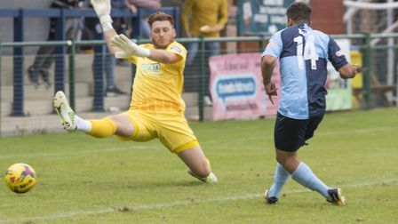 Kasey Douglas tucks away his first St Neots Town goal to earn victory against Bishop's Stortford in