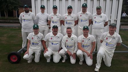 The title-winning Bluntisham 2nds are back row, left to right, Darren Jessop, Max Dighton, Will Gran