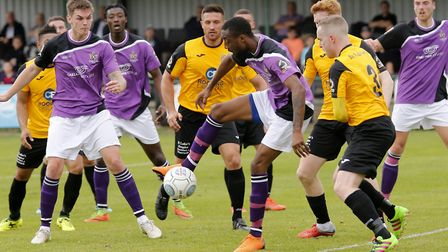 Ralston Gabriel tries to fine a way through a crowded penalty area. Picture: LEIGH PAGE