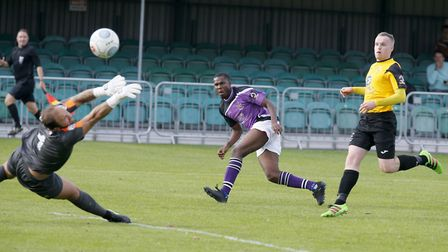 Khale Da Costa looks on as his shot flies into the back of the net. Picture: LEIGH PAGE
