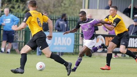 The East Thurrock defence is unable to get a hold of Khale Da Costa. Picture: LEIGH PAGE