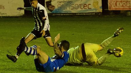 St Ives Town striker Dylan Wilson in action during their FA Cup success against Saffron Walden. Pict