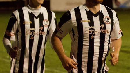 Tom McGowan (right) is all smiles after putting St Ives Town ahead in their FA Cup replay. Picture: