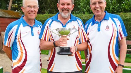 Brian Moores, Steve Maynard and Ben Polley of Harpenden Bowls Club won the Strofton Trophy.