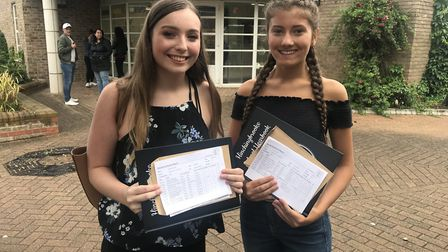 Hinchingbrooke students, Caitlin Everett, who got 2 8's, 7 9's and a A and Emily Saul who got 2 8's,