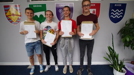 St Ivo students Charlie Bircham, Ellie Brown, Carla Handford and Ollie Clinton celebrate achieving a
