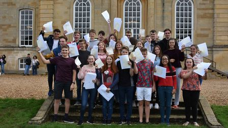 Kimbolton students celebrating their results