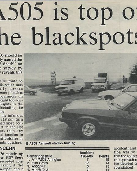 In 1988 the A505 was number one in a poll by the Royston Crow – and in places five and seven – for t