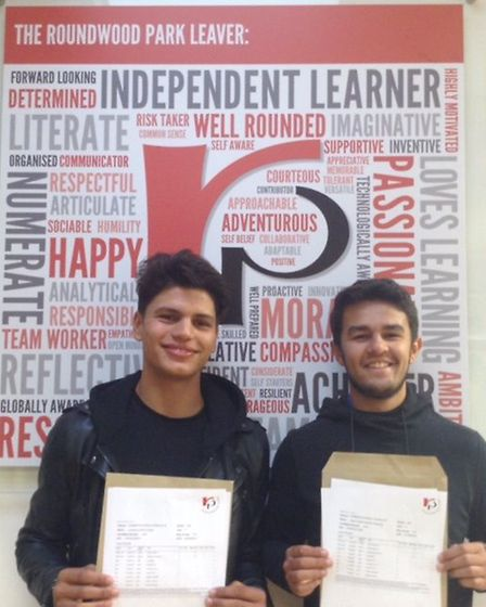 Roundwood Park pupils Laurence Gupta and Glenn Armstrong.