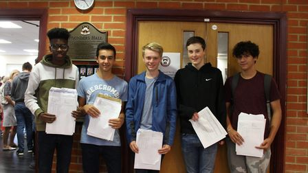 St Columba's College pupils celebrating their results.