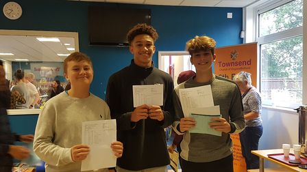 Townsend pupils with their results.