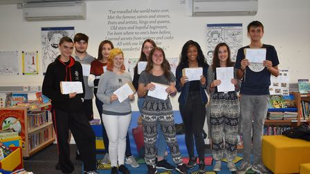 Pupils at Samuel Ryder Academy with their GCSE results.