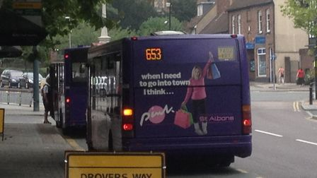 The 653 bus service in St Albans