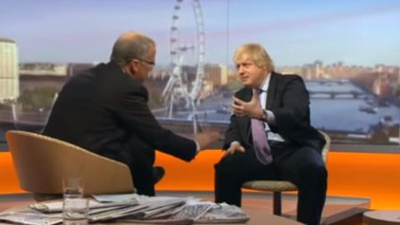Eddie Mair interviews Boris Johnson for The Andrew Marr Show. Photograph: BBC.