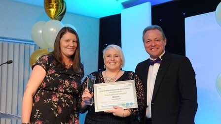 Vicky Bennett with Paul Stainton and Kerry Coupe from the Stamford Mercury. Picture: CONTRIBUTED