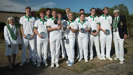 The Hunts 'A' team following their historic Reg Wright Trophy triumph. Pictured are, from the left,